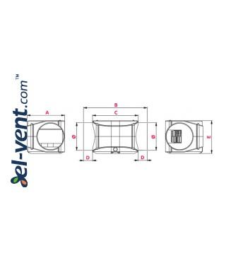 Центробежные канальные вентиляторы TURBINA - чертеж