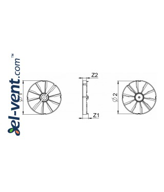 Backdraft damper for bathroom fan ZZ120, Ø120 mm - drawing