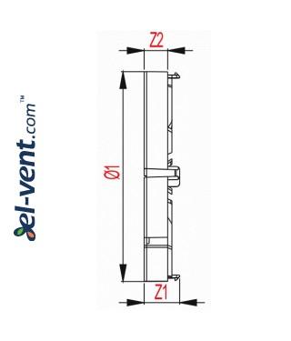 Backdraft damper for bathroom fan ZZ125, Ø125 mm - drawing