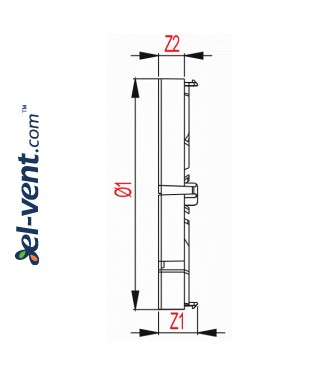 Backdraft damper for bathroom fan ZZ150, Ø150 mm - drawing