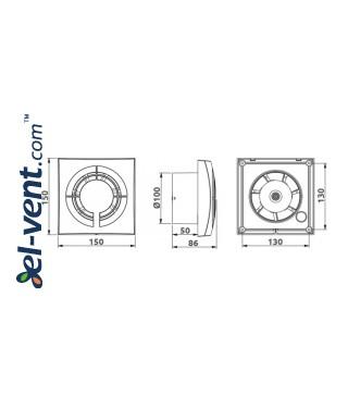 Vonios ventiliatorius FABIO - brėžinys