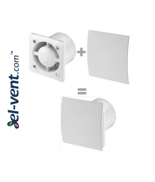 Bathroom fan with ball bearings and pull switch cord SISTEMA+125W, Ø125 mm - mounting example