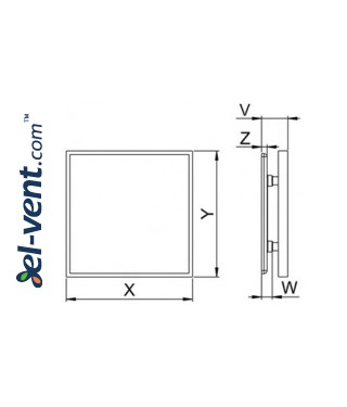 Interior panel for ceramic tile PI100 - INSIDE, drawing
