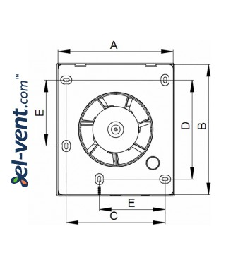Bathroom fan with pull switch cord VECCO100W, Ø100 mm - drawing 3