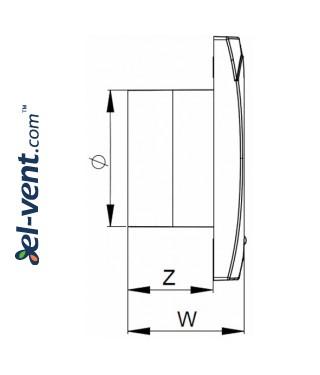 Bathroom fan VECCO100, Ø100 mm - drawing 2