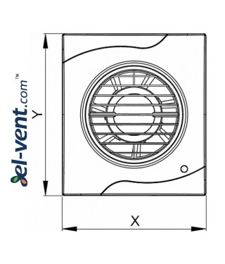 Bathroom fan with timer VECCO100T, Ø100 mm - drawing