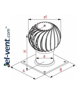 Rotating chimney aluminum cowl NOK150AL, Ø150 mm - drawing