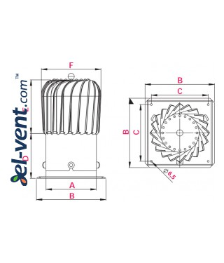Цилиндрическая вентиляционная насадка NOP150, Ø150 мм - чертеж