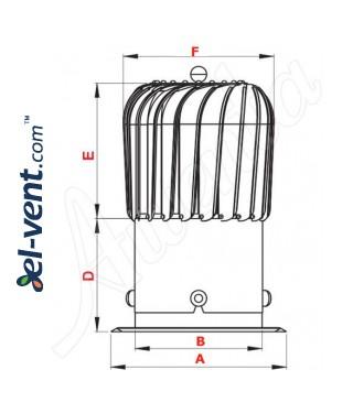 Rotating chimney aluminum cowl NOP150AL, Ø150 mm - drawing
