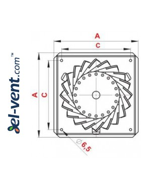 Rotating chimney aluminum cowl NOP150AL, Ø150 mm - drawing 2