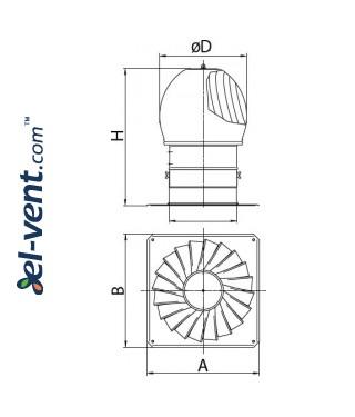 Rotating chimney cowl TURBO-250, Ø250 mm - drawing