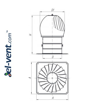 Rotating chimney cowls TURBO-AL - drawing
