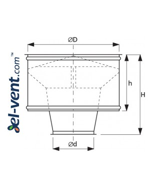 Roof ejector CDC125, Ø125 mm - drawing
