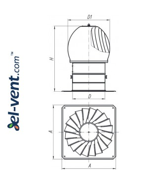 Rotating chimney cowl MINI-TURBO-100, Ø100 mm, 1