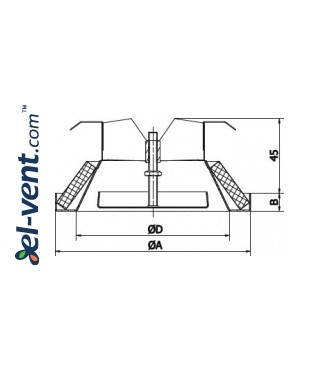 Air diffuser DIN160, Ø160 mm - drawing