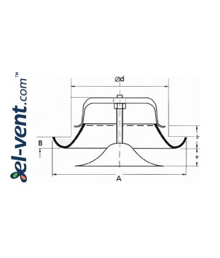 Air diffuser EDP100, Ø100 mm - drawing