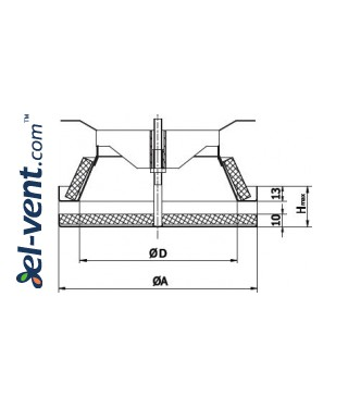 Insulated air diffuser DPN160, Ø160 mm - drawing
