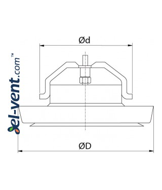 Insulated air diffuser DPNN160, Ø160 mm - drawing