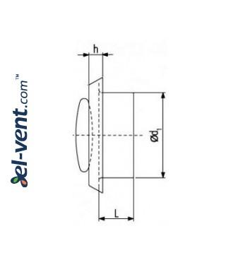 Ceiling diffuser PP160PVC, Ø160 mm - drawing
