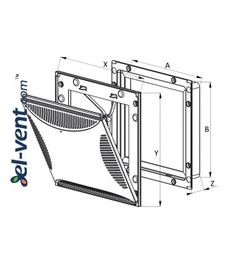 Vent cover adjustable TVS2, 185x185 mm - drawing