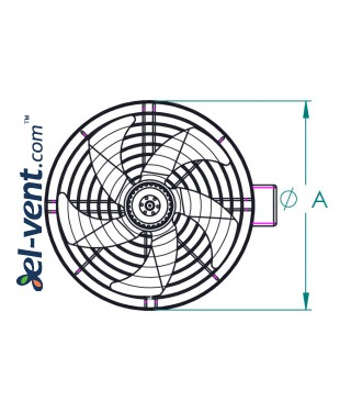 High performance external rotor axial duct fan EDRPKT150, Ø150 mm - drawing 2