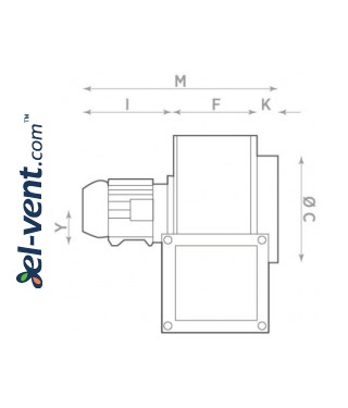 Explosion proof centrifugal fans CB EX-ATEX  ≤1450 m³/h - drawing No.2