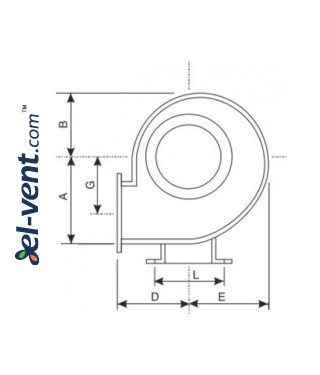 Silenced centrifugal fans CS ≤9500 m³/h - drawing No.1