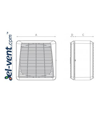 Window-wall fans with automatic shutter EASY - drawing