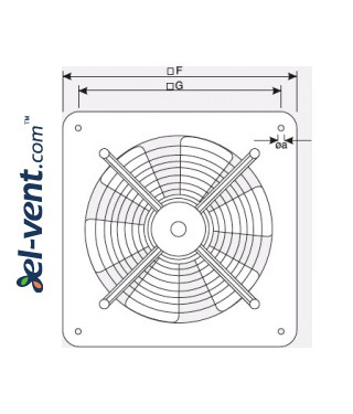 Explosion proof axial fans EB EX-ATEX  ≤4500 m³/h - drawing No.2