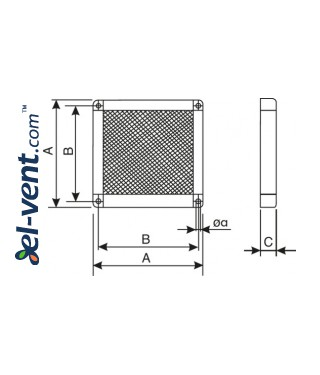 Protection vent gille GGA300, 424x424 mm - drawing