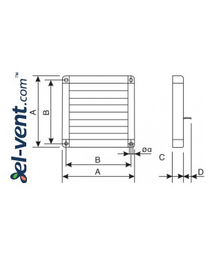 Gravity vent louvers GGT - drawing