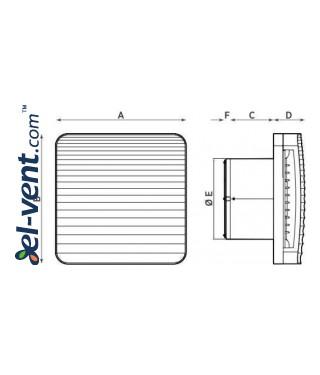 Ventiliatorius voniai su guoliais ir laikmačiu ONDA10/4T, Ø100 mm - brėžinys
