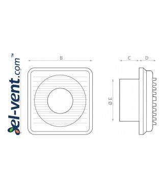 Small diameter exhaust fan with timer STANDARD 8 T, Ø75 mm - drawing