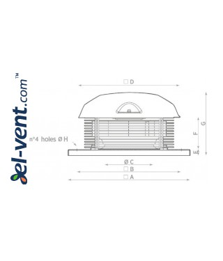 Centrifugal roof fans TXC ≤1550 m³/h - drawing