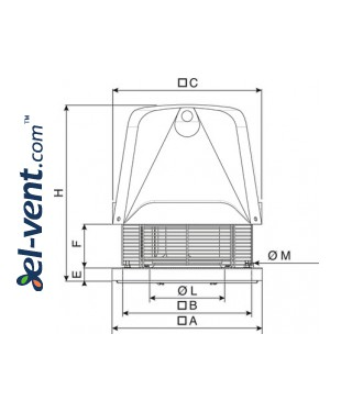 Centrifugal roof fans TXC ≤18800 m³/h - drawing