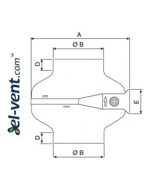 Центробежные канальные вентиляторы TURBO-C ≤1400 м³/ч - чертеж 2