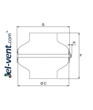 Центробежные канальные вентиляторы TURBO-C ≤1400 м³/ч - чертеж