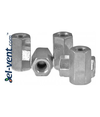 Extended nuts for connecting threaded rods SQ-NZO