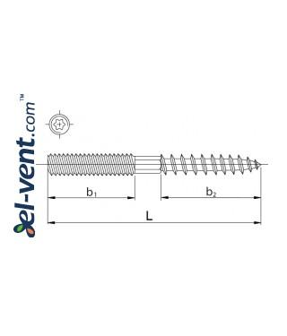 Doubel-sided hanger bolt MLO100/08, Ø8 mm, L=100 mm - drawing