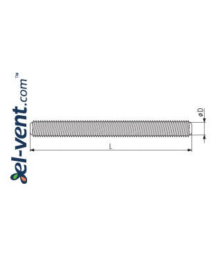 Threaded rod SST10/2, Ø10 mm, L=2.0 m - drawing