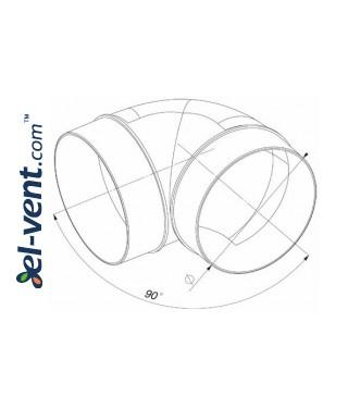 Duct elbow EKO150-23, Ø150 mm, 90° - drawing