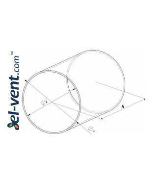 Plastic duct EKO100-15, Ø100 mm, 1.5 m - drawing