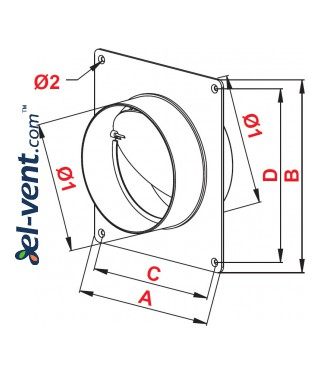 Пластиковый обратный клапан EKO150-27/22, Ø150 мм - чертеж
