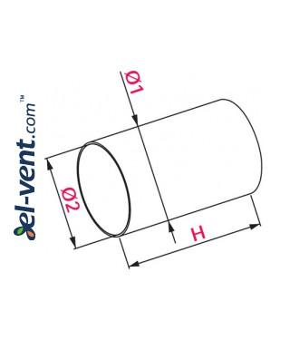 Plastikinis ortakis EKO150-10, Ø150 mm, 1.0 m - brėžinys