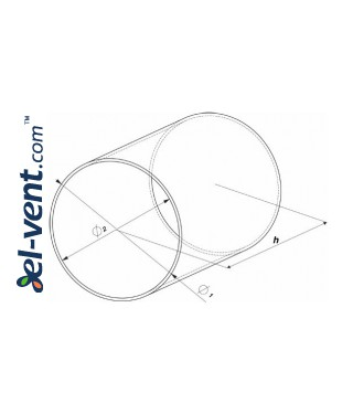 Plastic duct EKO125-10, Ø125 mm, 1.0 m - drawing