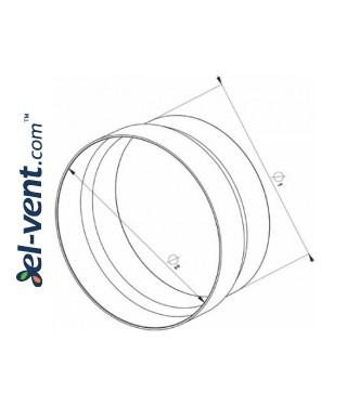 Duct reducer EKO125-29, Ø100-125 mm - drawing