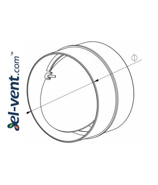 Plastic back draught damper EKO125-22, Ø125 mm - drawing