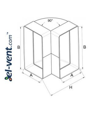 Vertical elbow EKO75-25, 75x150 mm, 90° - drawing