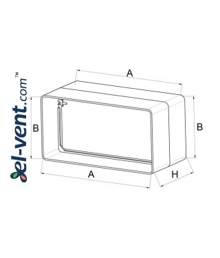Plastic back draught damper EKO120-22, 60x120 mm - drawing