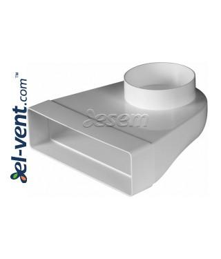 Plastikinė ortakio alkūnė EKO-P-204-23/100, Ø100x60x204 mm